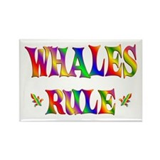 WHALES RULE Rectangle Magnet