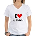 I Love My Minister Women's V-Neck T-Shirt