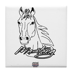 Mustang Horse white Tile Coaster