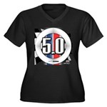 5.0 50 RWB Women's Plus Size V-Neck Dark T-Shirt