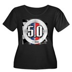 5.0 50 RWB Women's Plus Size Scoop Neck Dark T-Shi