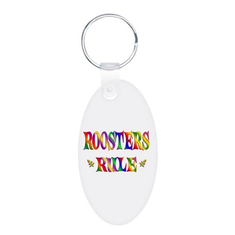 ROOSTERS RULE Aluminum Oval Keychain