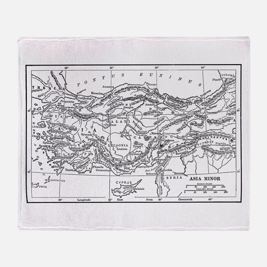 Asia Minor Map Throw Blanket