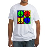Four Multicolored Peace Signs Fitted T-Shirt
