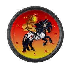 Appaloosa War Pony - background Large Wall Clock