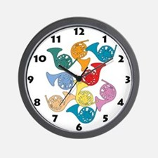 Colorful French Horns Wall Clock