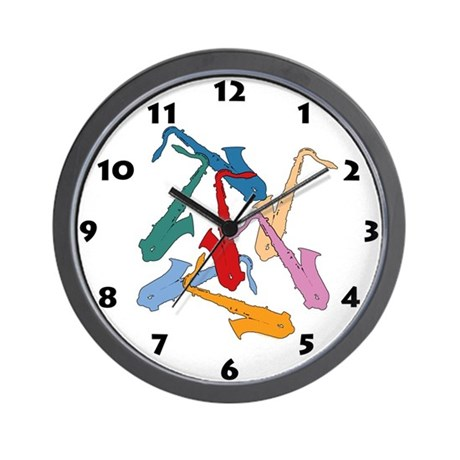 Colorful Saxophones Wall Clock