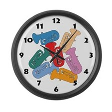 Colorful Tubas Large Wall Clock