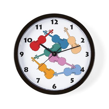 Colorful Violins - Wall Clock