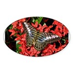 Butterfly on Red Flowers Sticker (Oval)