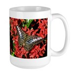 Butterfly on Red Flowers Large Mug