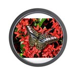 Butterfly on Red Flowers Wall Clock
