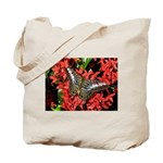 Butterfly on Red Flowers Tote Bag