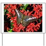 Butterfly on Red Flowers Yard Sign