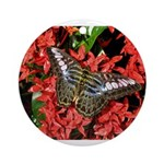 Butterfly on Red Flowers Ornament (Round)