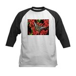 Butterfly on Red Flowers Kids Baseball Jersey
