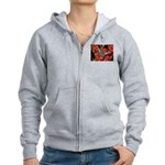Butterfly on Red Flowers Women's Zip Hoodie