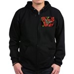 Butterfly on Red Flowers Zip Hoodie (dark)