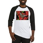 Butterfly on Red Flowers Baseball Jersey