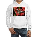 Butterfly on Red Flowers Hooded Sweatshirt