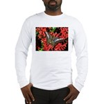 Butterfly on Red Flowers Long Sleeve T-Shirt