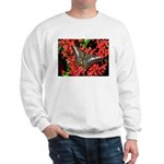 Butterfly on Red Flowers Sweatshirt