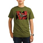 Butterfly on Red Flowers Organic Men's T-Shirt (da