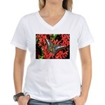 Butterfly on Red Flowers Women's V-Neck T-Shirt