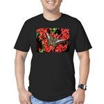 Butterfly on Red Flowers Men's Fitted T-Shirt (dar