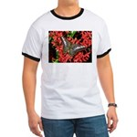 Butterfly on Red Flowers Ringer T