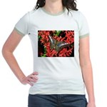 Butterfly on Red Flowers Jr. Ringer T-Shirt