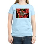 Butterfly on Red Flowers Women's Light T-Shirt