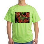 Butterfly on Red Flowers Green T-Shirt
