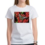 Butterfly on Red Flowers Women's T-Shirt