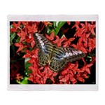 Butterfly on Red Flowers Throw Blanket