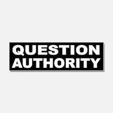 Cute Question authority Car Magnet 10 x 3
