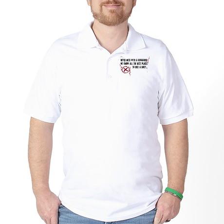 Geocaching - never mess dark red Golf Shirt