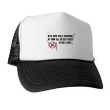 Geocaching - never mess dark red Trucker Hat