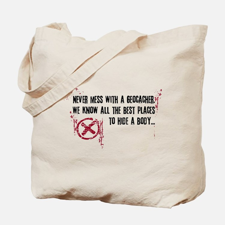 Geocaching - never mess dark red Tote Bag
