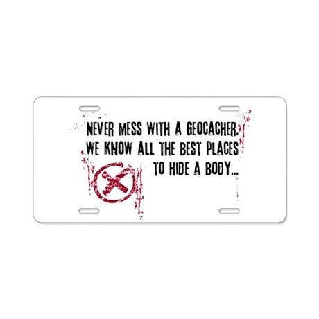 Geocaching - never mess dark red Aluminum License