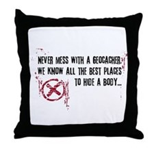 Geocaching - never mess dark red Throw Pillow
