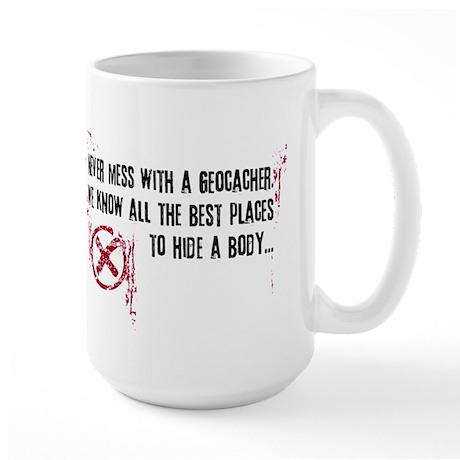 Geocaching - never mess dark red Large Mug