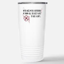 Geocaching - never mess dark red Travel Mug