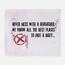 Geocaching - never mess dark red Throw Blanket