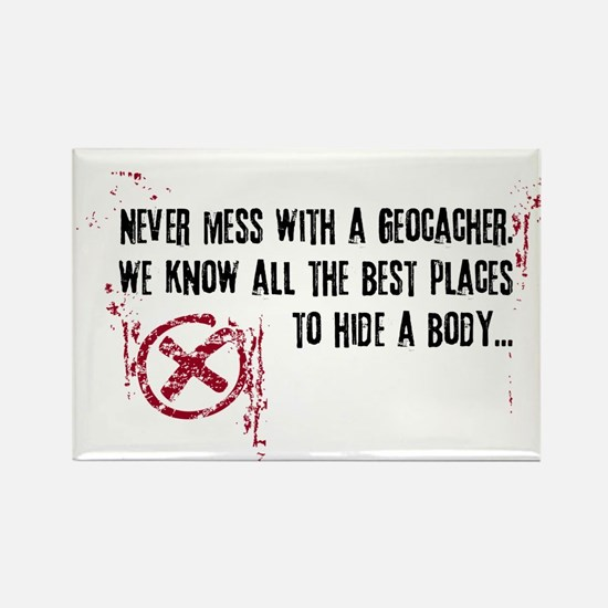 Geocaching - never mess dark red Rectangle Magnet
