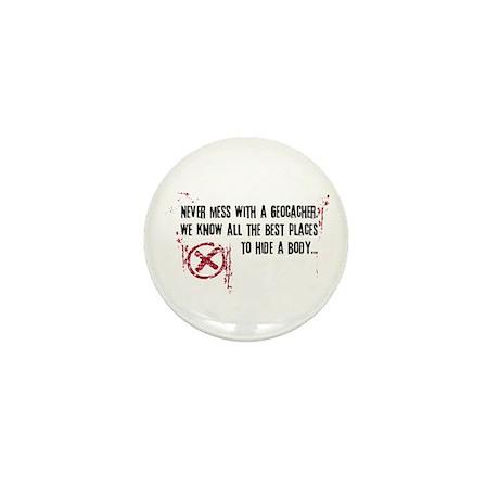 Geocaching - never mess dark red Mini Button