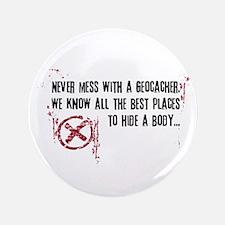 "Geocaching - never mess dark red 3.5"" Button"