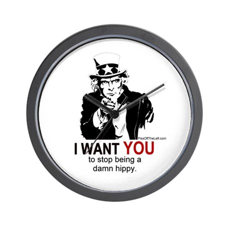 Uncle Sam / Stop being a damn hippy. Wall Clock