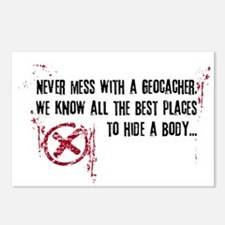 Geocaching - never mess dark red Postcards (Packag