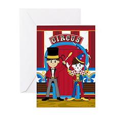 Circus Ringmaster and Clown Greeting Card